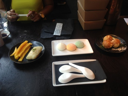Dessert L to R: mango and sticky rice, mochi icecream, chocolate filled donuts