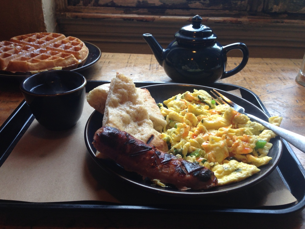 Cilantro scrambled eggs with ginger & jalapenos, Aidells chicken sausage, waffles, Moroccan mint tea
