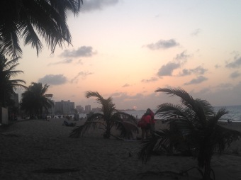 The sun setting at Ocean Park Beach